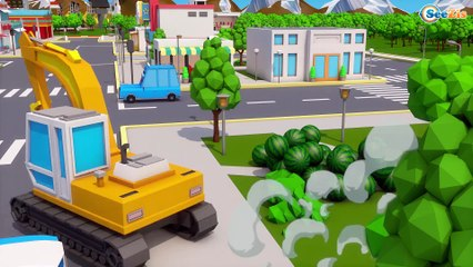 Learn Colors with Big Yellow Excavator | Bad Kid Plays with Color Balls Little Cars & Trucks