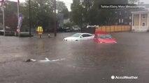 Severe flooding leaves cars underwater in Massachusetts