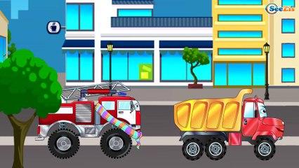 Camión de Bomberos, Camión, Carros de Carreras y Coche de Policía - Carros Para Niños Parte 2