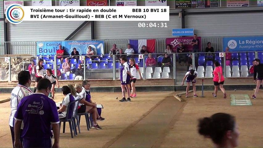 Troisième tour, tir rapide en double, Club Elite Féminin J1, Bourg en Bresse contre Bièvre Isère, octobre 2017