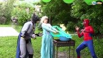 Frozen Elsa & Spiderman EATS ELSA w/ Princess Anna Joker Maleficent Hulk Spidergirl Superheroes IRL