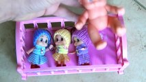 5 LITTLE BABIES jumping on the Bed - Lot Baby Doll Nursery Rhymes - Babies Songs