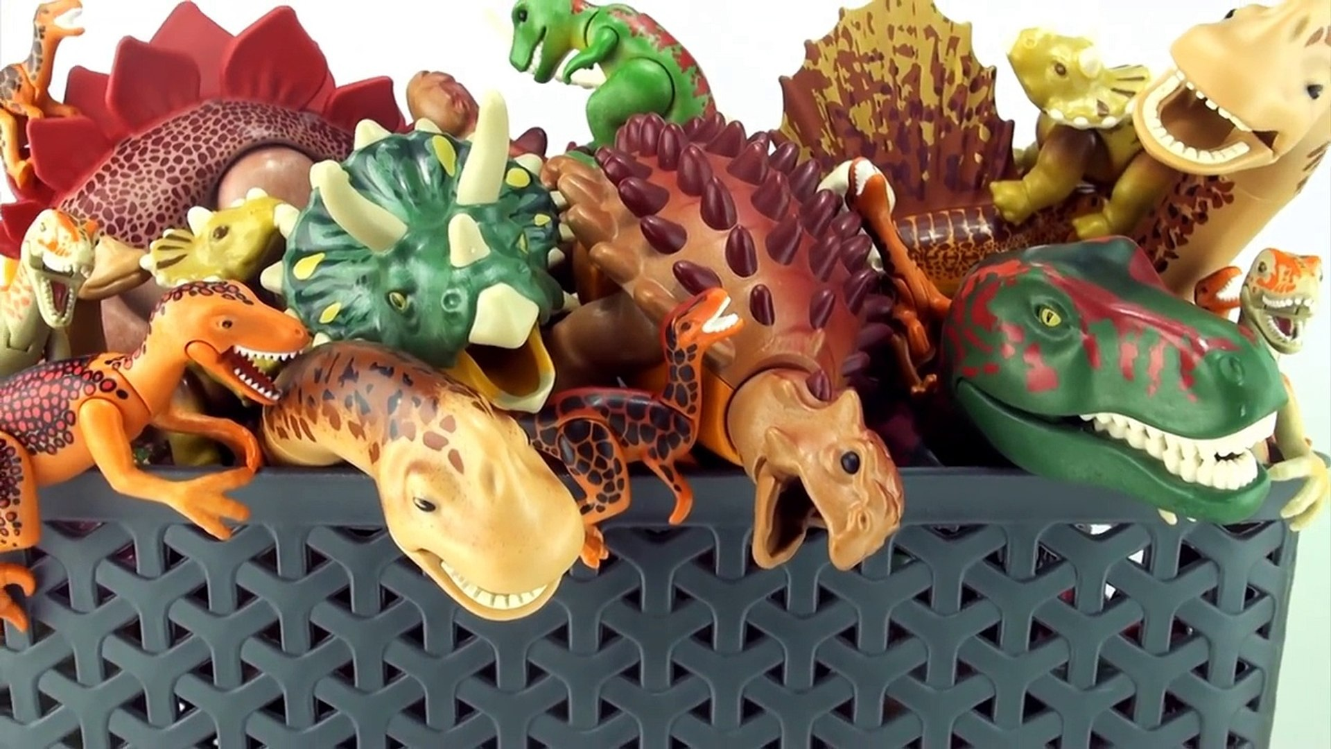 Box of Dinosaurs Playmobil Collection - Tyrannosaurus, Triceratops in the dinosaur toy box