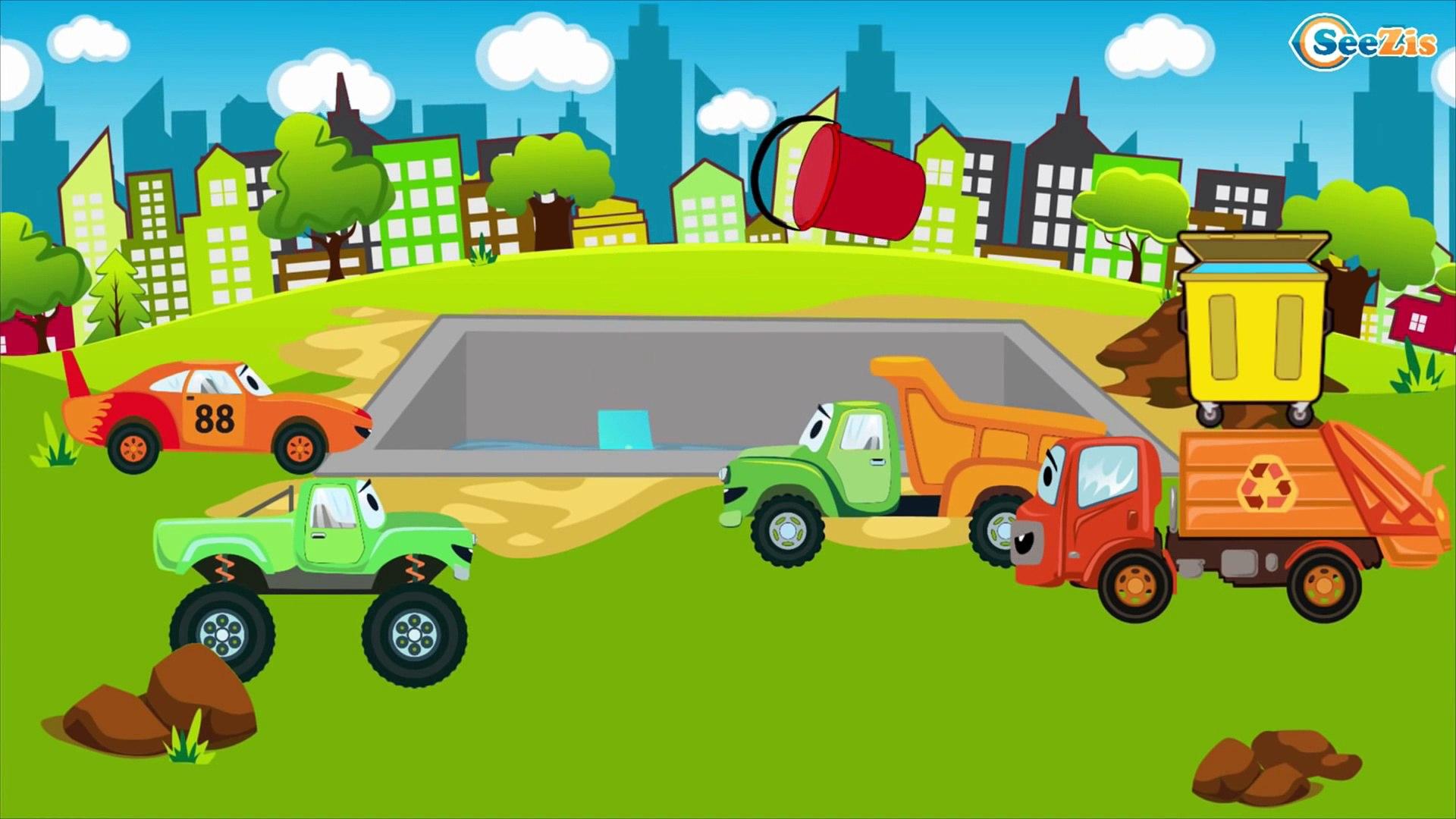 El Tractor Con El Camión Y Muchos Más Dibujo Animado De Coches La Zona De Construcción видео Dailymotion