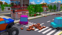 Tractor w Giant Excavator & Bulldozer Real Construction Trucks 3D Kids Cartoon Cars & Trucks Stories