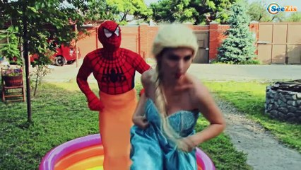 Frozen Elsa and Spiderman Pool party with disney princesses and bad baby! Superhero Compilation