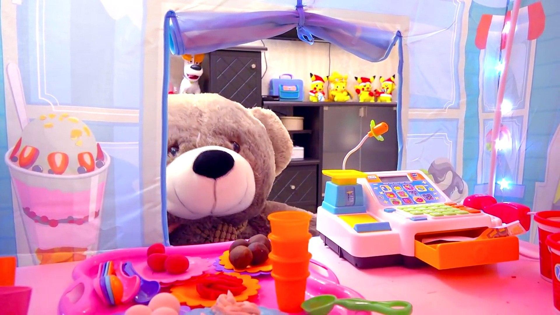 Магазин с мороженым Для детей KIDS CHILDREN Игры для детей Медведь покупает мороженое