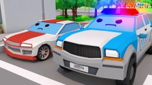 Learn Colors with Bad Baby Colored Cars Giant Police Car Emergency Little Cars & Trucks for kids