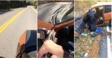 """""""Inteligente"""" usa carro como um skate numa descida e quase vai desta para melhor"""