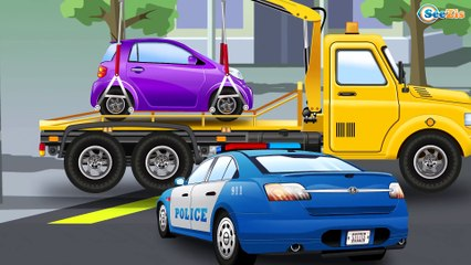 The Yellow Tow Truck rescues Cars Friends - Service & Emergency Vehicles - Cars & Trucks for Kids
