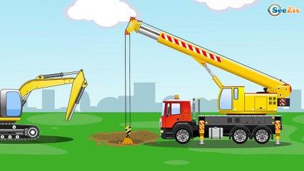 The Yellow Bulldozer digging | Construction Trucks & Service Vehicles Cartoons for children