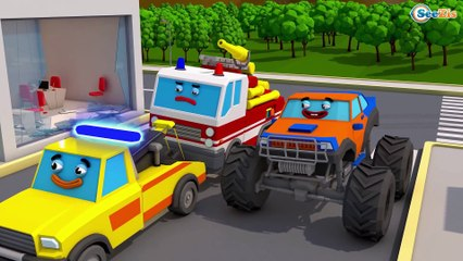 The Yellow Tow Truck in City Fun Kids Compilation Cars & Truck Stories 3D Animation cartoon children