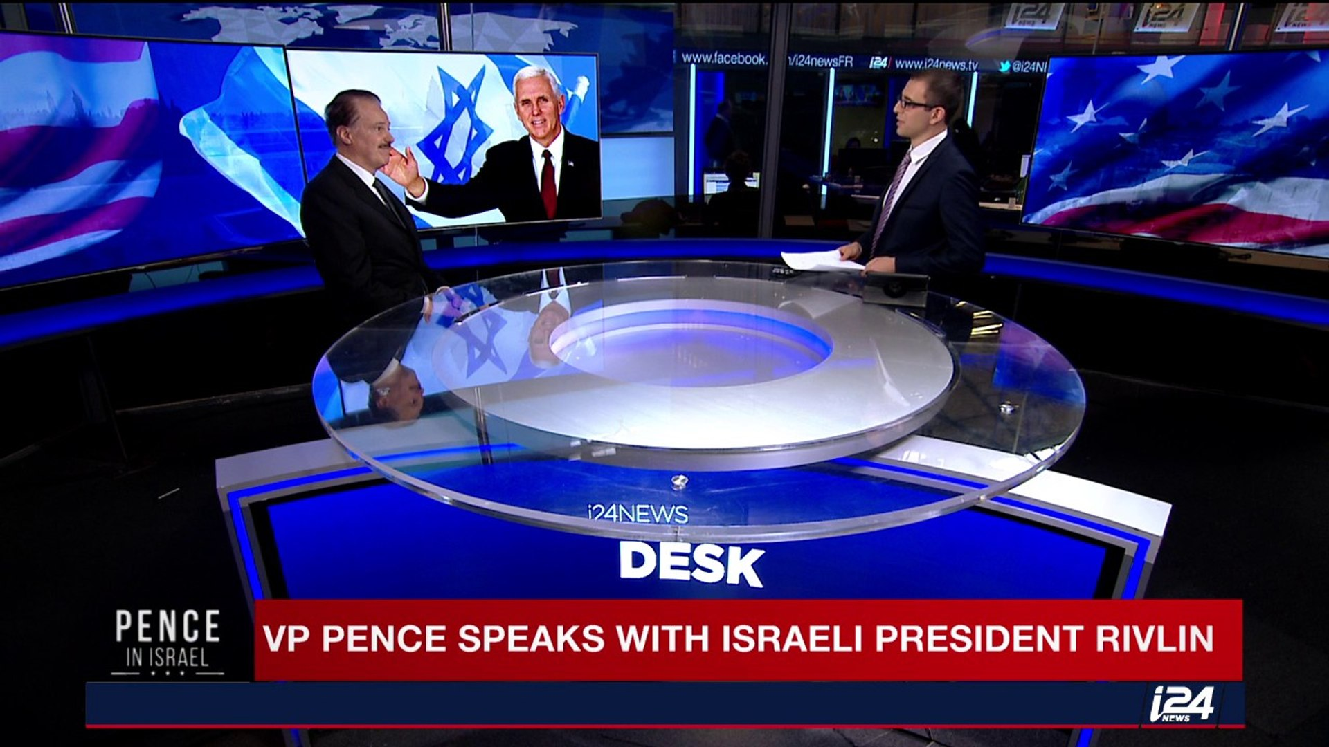 Israeli President Reuvin Rivlin speaks with US Vice President Mike Pence