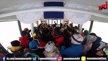 Découvrez les images du chanteur Amir en concert acoustique surprise dans un téléphérique aux Deux Alpes pour le Morning