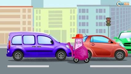 La Voiture de police et CHAOS DANS LA VILLE - Les véhicules de secours. Vidéo éducative pour bébés