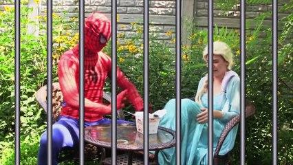 Funny Superhero Car Dance w/ Amazing Spiderman and Frozen Elsa Pink spidergirl Hulk The flash