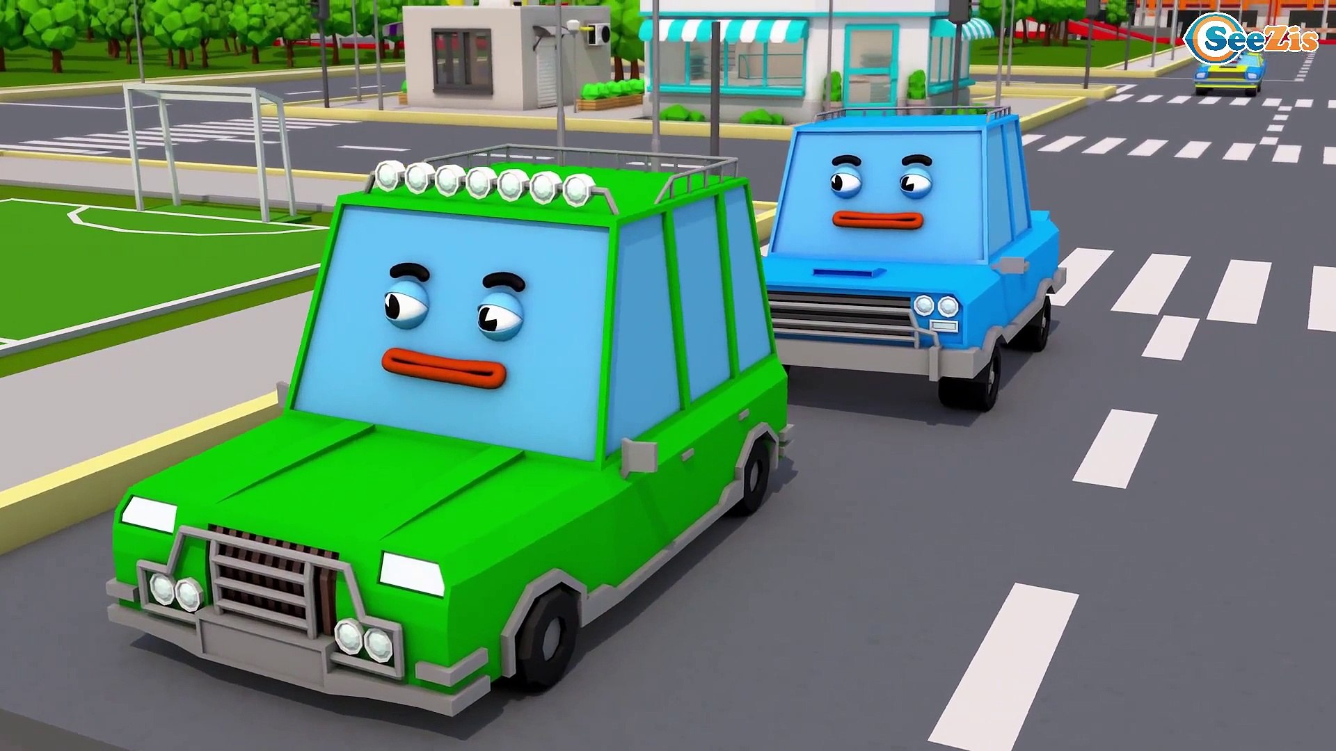 Police car with Racing Cars Chase in Kids Video | 3D Car Cartoon Animation Cars & Truck Stories