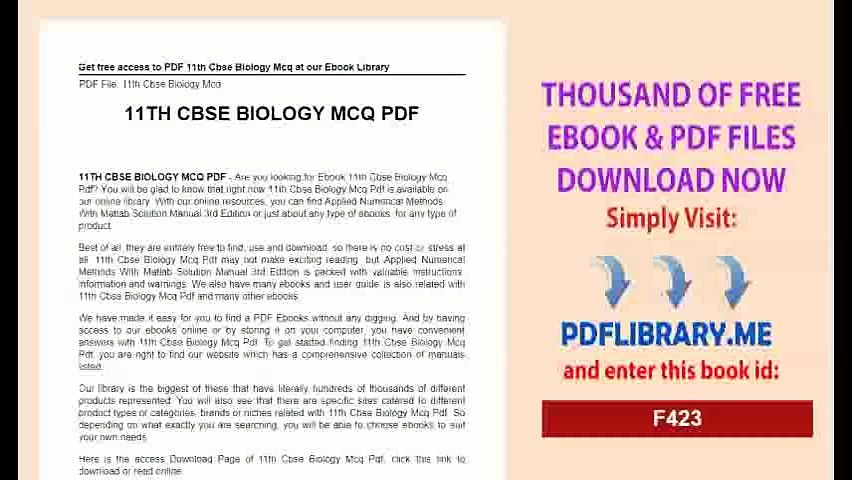[Download] 11th Cbse Biology Mcq PDF
