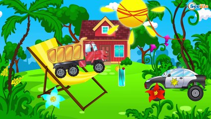 The Blue Police Car Hurry to the Rescue   Service Cars and Trucks Cartoon for children
