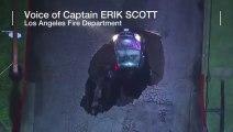 Une voiture disparait, avaler en pleine route par une doline à Los Angeles en Californie