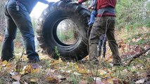 Rolling GiANT Tror Tire Down A Hill
