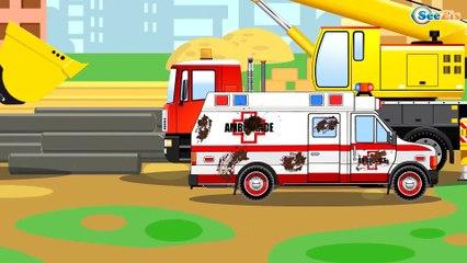 СБОРНИК: Мультфильмы про Машинки Трактор, Грузовик, Кран на стройке - Развивающие видео для детей