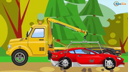 The Blue Police Car & Racing Car Сhase - The Big Race in the City of Cars Cartoons for Children