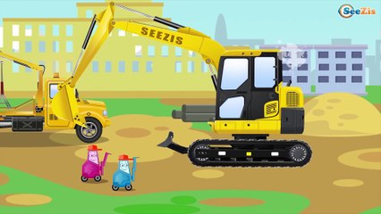 The Yellow Bulldozer and The Crane   Construction Trucks & Service Vehicles Cartoons for children
