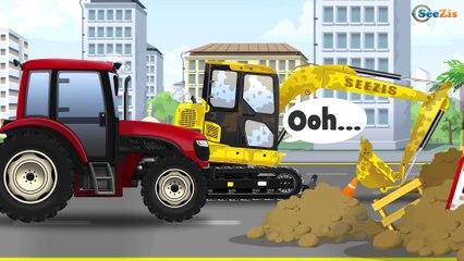 Tracteur sur la ferme pour les enfants. Machines Bruder - Dessin animé sur les voitures