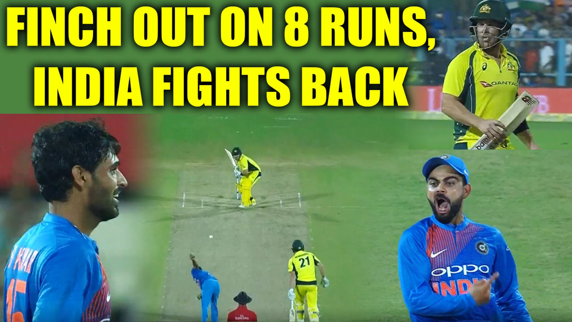 India vs Australia 2nd T20I : Aaron Finch out on balling of Bhuvneshwar Kumar, Kohli takes catch | O