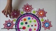 Beautiful and innovative flower shaped rangoli design   Easy Rangoli by Poonam Borkar