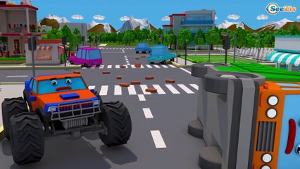 Excavator w RED Tractor and Funny Truck in the City - Kids Video Episodes!
