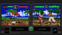 Dual Longplay [37] Virtua Fighter 2 (Sega Genesis vs Sega Saturn) Side by Side Comparison