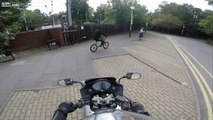 Scum bag phone thief gets CAUGHT by Biker INSTANT KARMA
