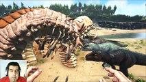 ARK Survival Evolved DeathWorm Alpha VS Giganotosaurus batalla dinosaurios gameplay español