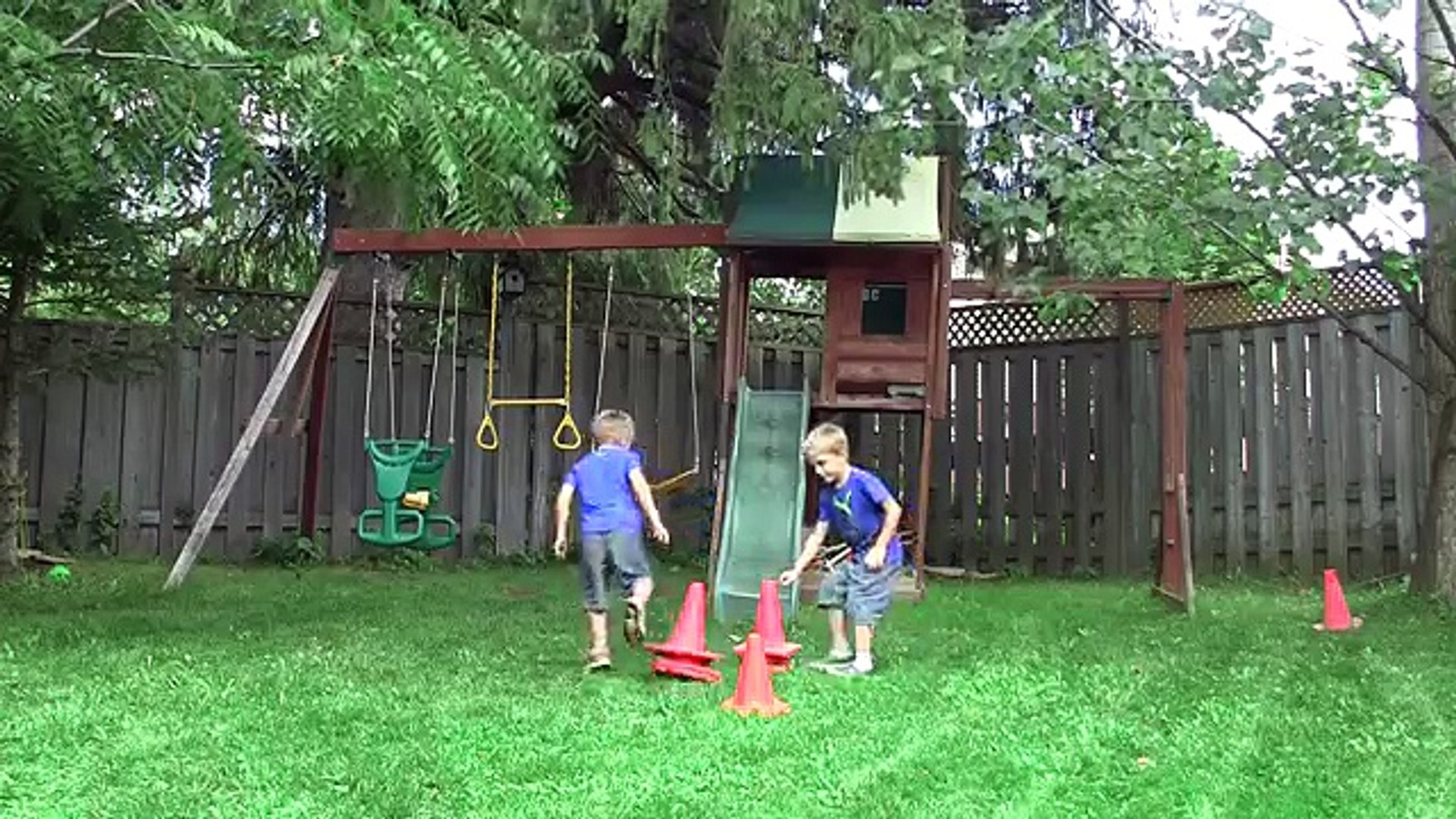 Kids playing in an Outdoor Play Centre