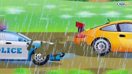 The Red Crane & The Truck working   Construction Trucks & Service Vehicles Cartoons for children