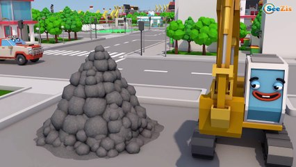 CARS & little Yellow Excavator ACCIDENT TOYS! Learn Colors w/ Cars & Trucks for kids