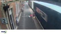 Ce train aspire une poussette sous les rails !! Vide heureusement...
