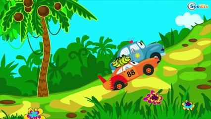 Coche de Policía y Camión de bomberos Dibujos animados - Tiki Taki Camiónes   La zona de operación