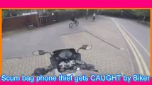 Scum bag phone thief gets CAUGHT by Biker INSTANT