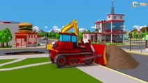 Yellow Excavator & Giant Truck - Construction Vehicles 3D Kids Animation Cars & Trucks Stories