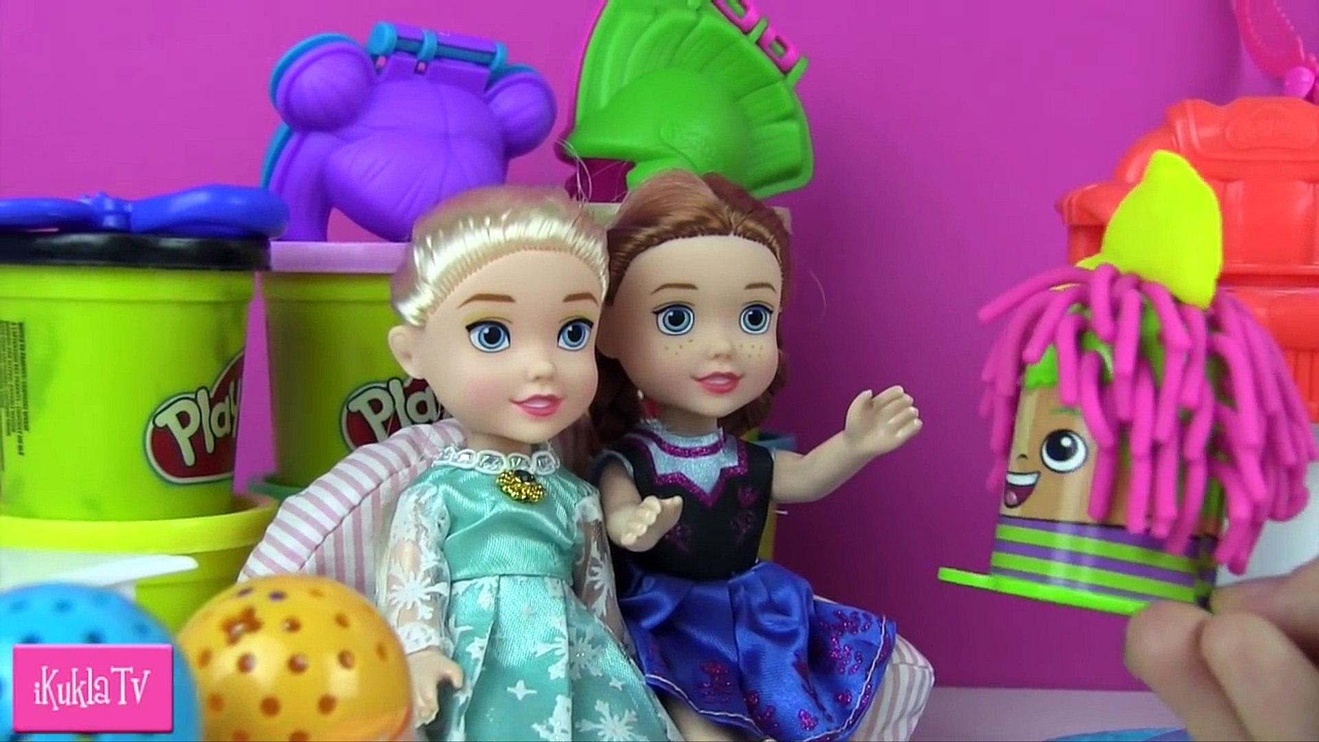 Куклы Дети Анна Эльза Салон Красоты Crazy cuts hair designer salon Play doh Плей До Прически Мульт