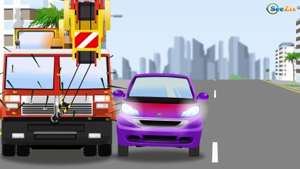 The Red Bulldozer and Big Truck in the City - Cartoons for children - Cars & Trucks for Kids