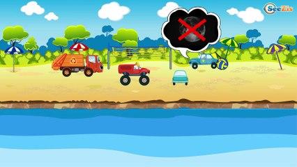 El Coche de Policía es Azul y Carros de Carreras - Dibujo animado de coches - Carritos Para Niños