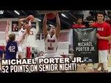 Michael Porter Jr GOES OFF! 52 PTS, 23 REB on Senior Night! | Nathan Hale BLOWOUT VS Seattle Prep