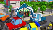 Real Tractor plays Football with Excavator on the road - 3D Animation Cartoon Cars & Trucks Stories