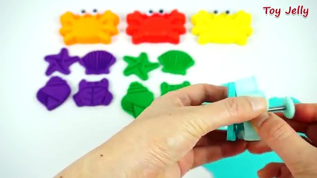 Play Doh Crabs with Star fish Shell Shapes Cookie Cutters Fun and Creative for Kids