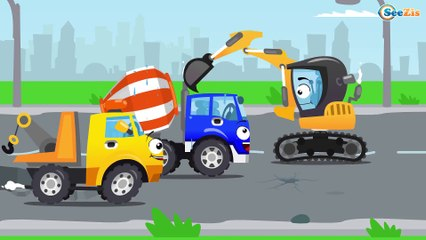 New Cement Mixer Truck - Car Construction - Real Children Video Part 2