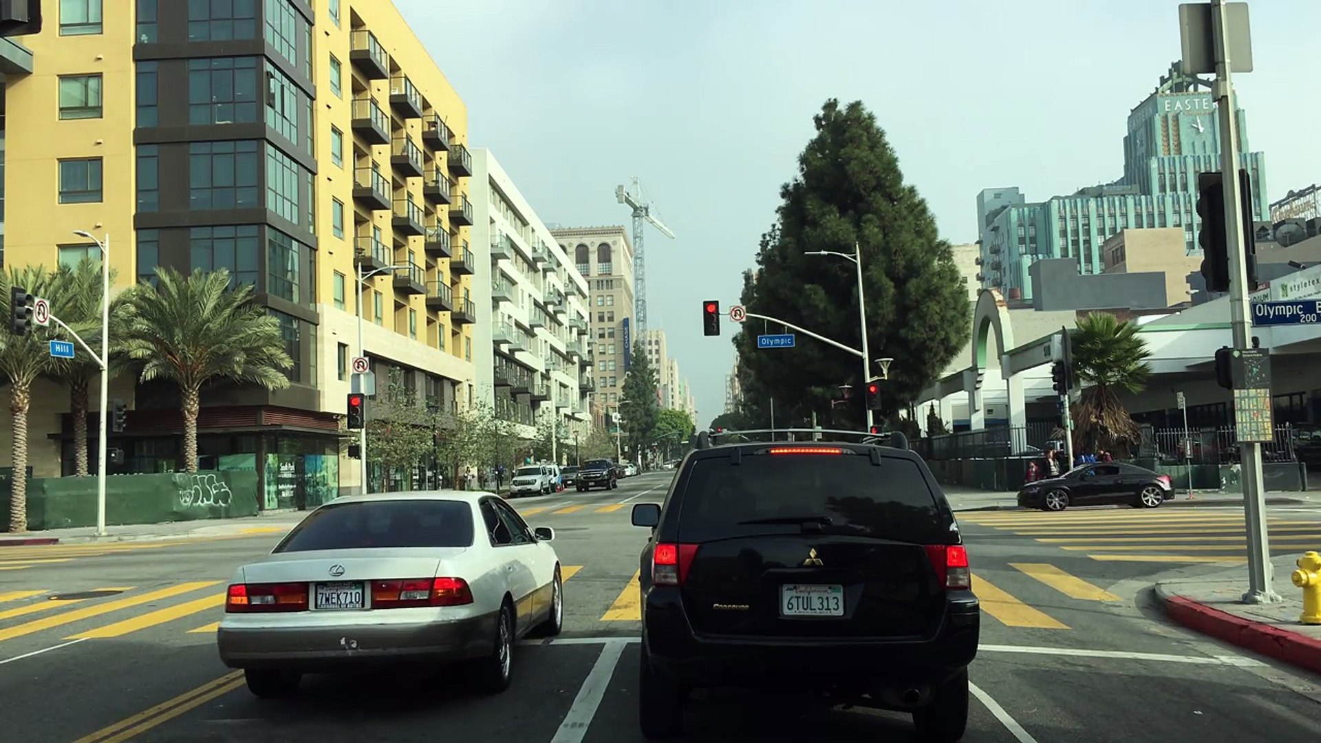 Driving Downtown - LAs Jewelry District - Los Angeles California USA